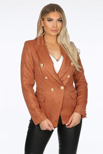 Camilla Burnt Orange Hopsack Double Breasted Blazer