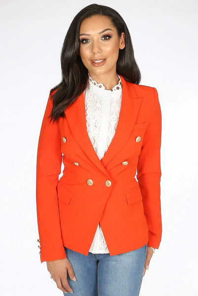 Dominique Coral Double Breasted Blazer