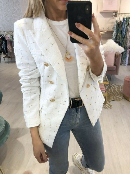 Jade Metallic Thread Trim Double Breasted Blazer in White