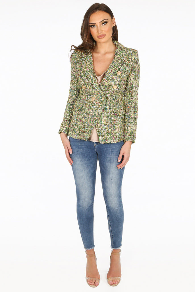 Carrie Boucle Tweed Double Breasted Blazer in Green
