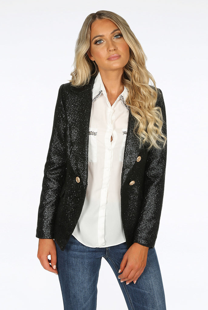 Alix Foil Textured Double Breasted Black Blazer