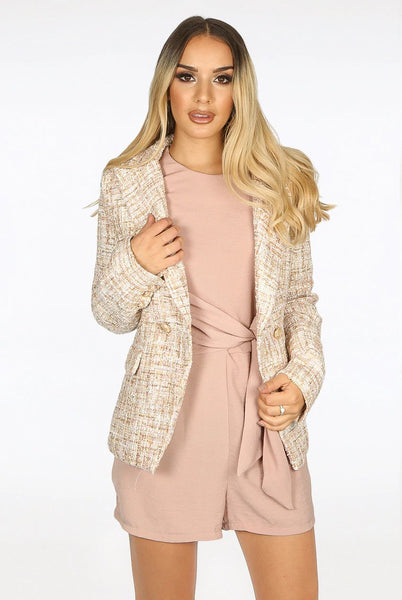 Alexander Tweed Double Breasted Golden Button Nude Blazer