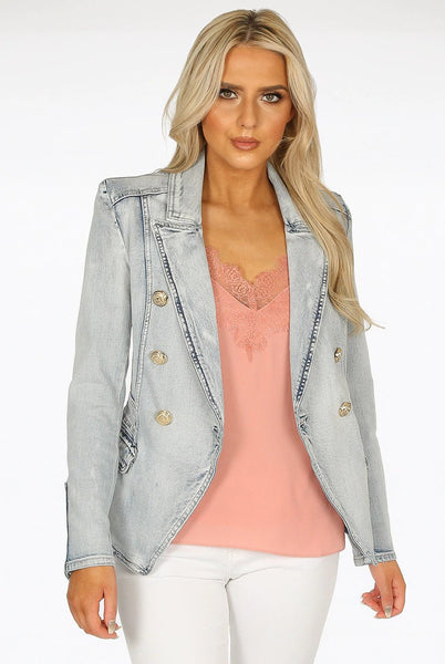 Questa Acid Wash Light Blue Denim Military Blazer