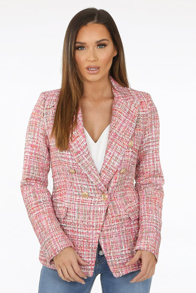 Alexander Tweed Double Breasted Golden Button Blazer in Pink