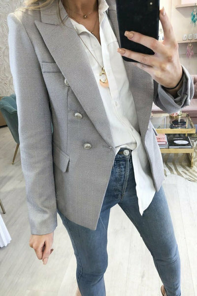 Camille Grey Hopsack Double Breasted Blazer