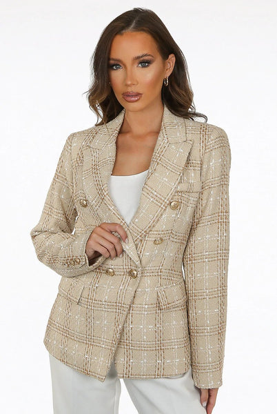 Elena Check Pattern Knit Thread Double Breasted Blazer in Camel