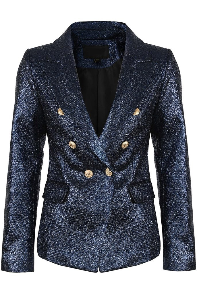 Alix Foil Textured Double Breasted Navy Blazer