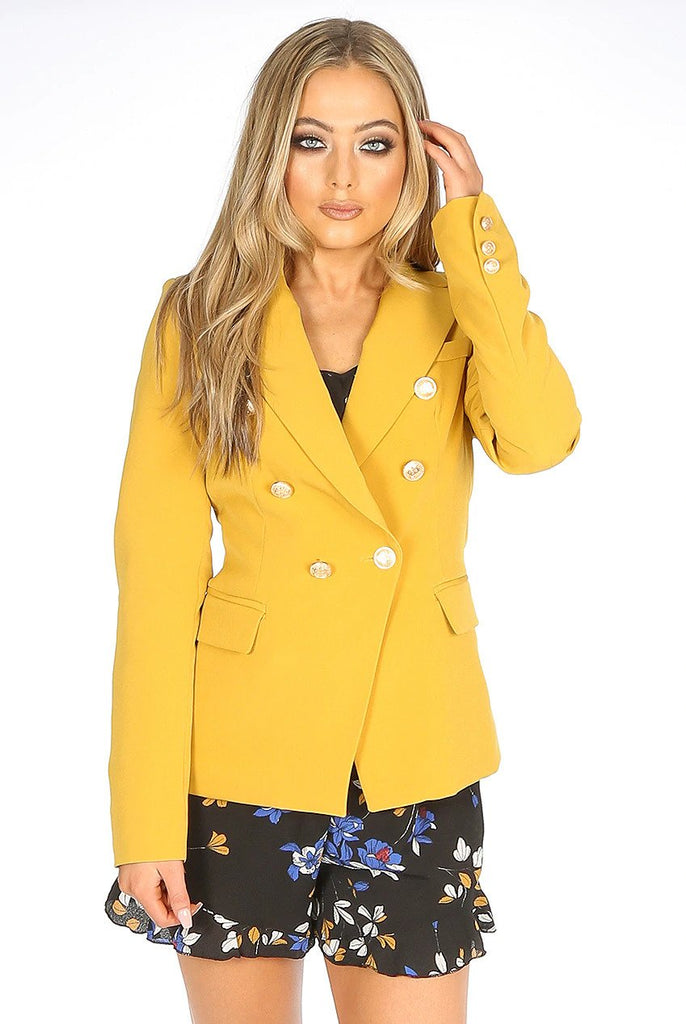 Dominique Mustard  Double Breasted Blazer