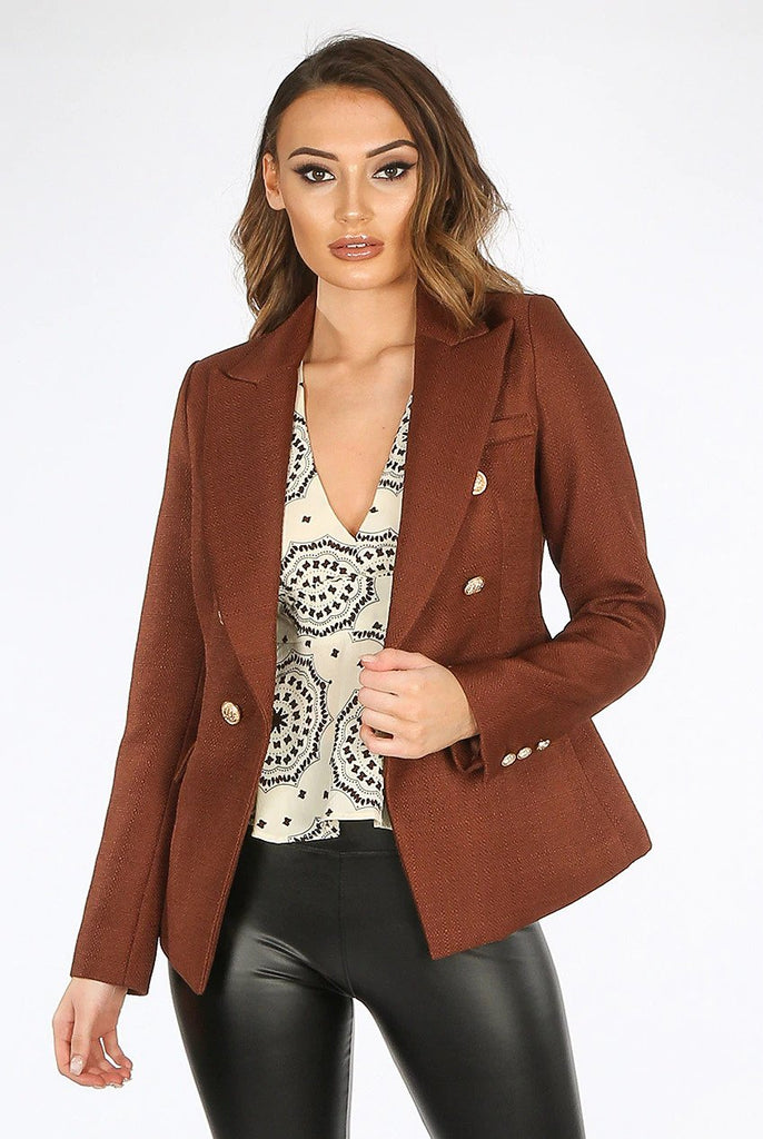 Camille Chocolate Hopsack Double Breasted Blazer