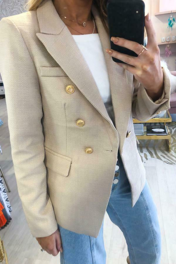 Camille Beige Hopsack Double Breasted Blazer