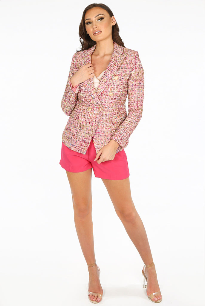 Carrie Boucle Tweed Double Breasted Blazer in Pink