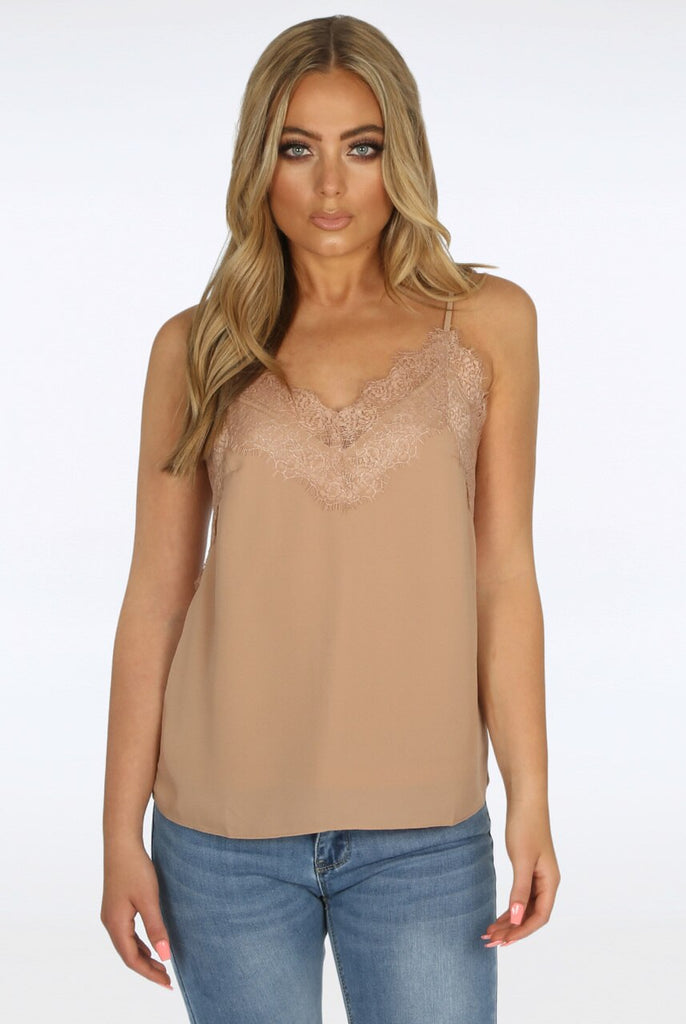 Bella Cami Lace Top in Beige