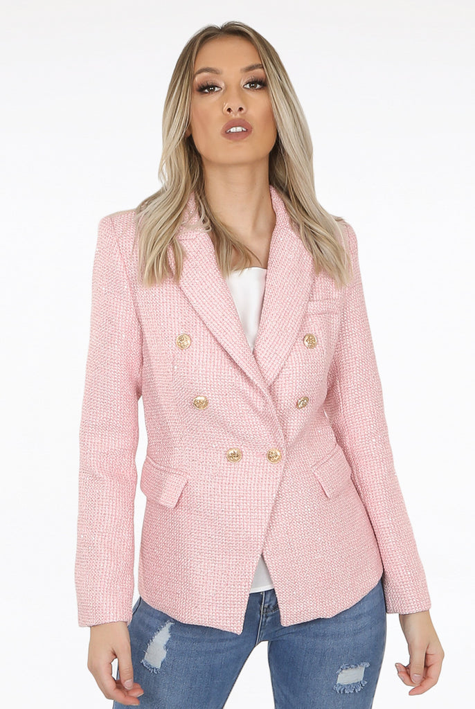 Cora Knit Thread Double Breasted Blazer in Pink