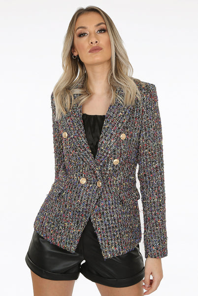 Enya Multi Knit Double Breasted Blazer