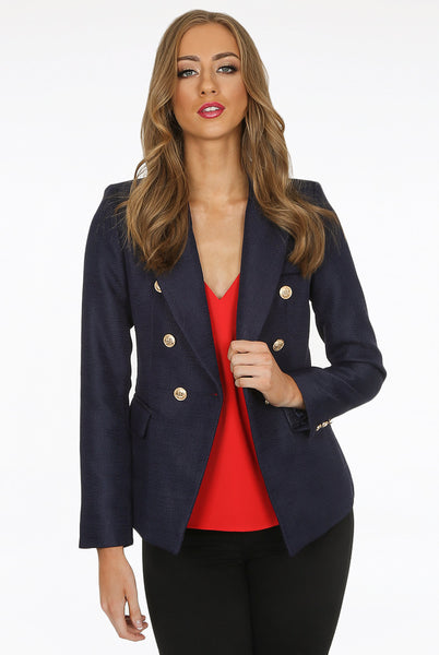 Camille Navy Hopsack Double Breasted Blazer