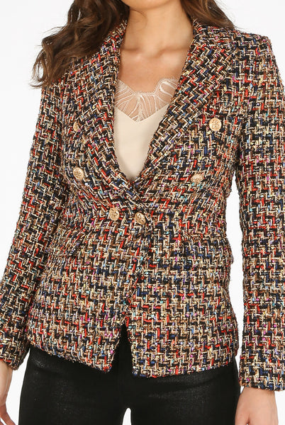 Carrie Boucle Tweed Double Breasted Blazer in Black