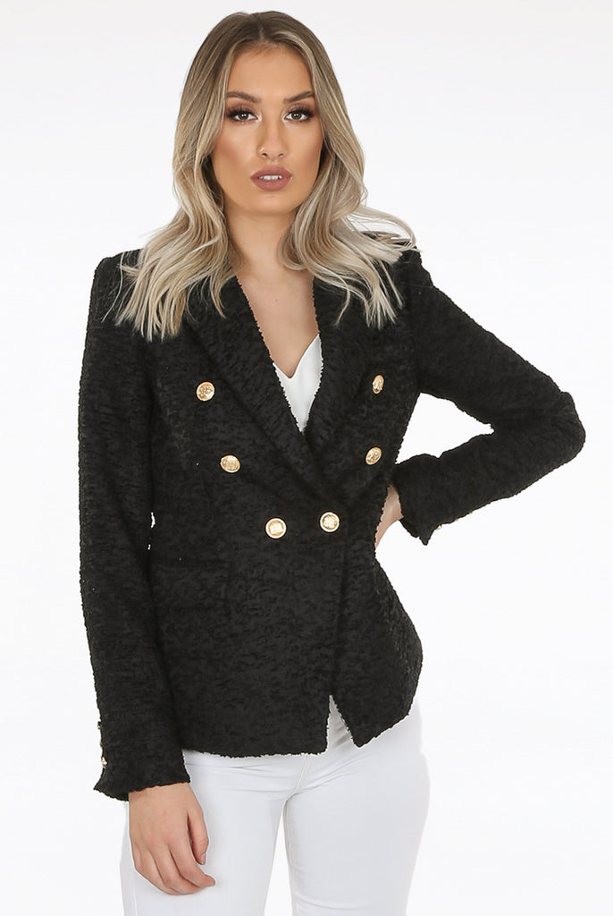 Erin Boucle Thread Double Breasted Blazer in Black