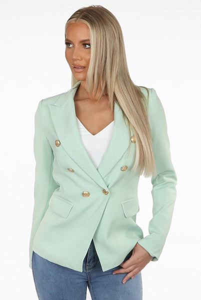 Dominique Mint Green Double Breasted Blazer