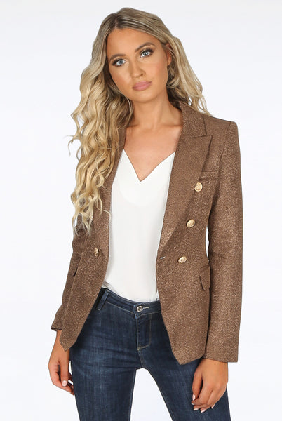 Camilla Dark Camel Hopsack Double Breasted Blazer