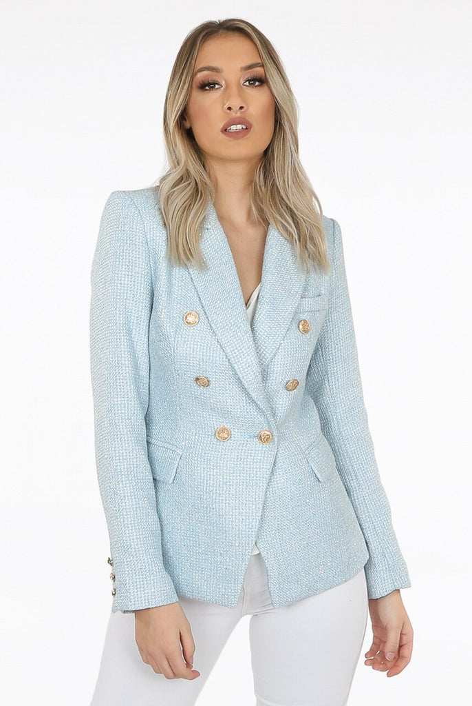 Cora Knit Thread Double Breasted Blazer in Blue