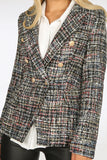 Alexander Tweed Double Breasted Golden Button Blazer in Black