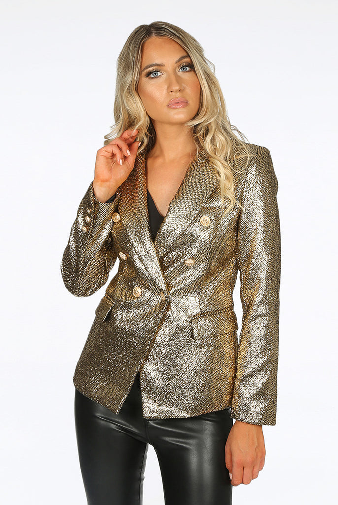 Alix Foil Textured Double Breasted Golden Blazer