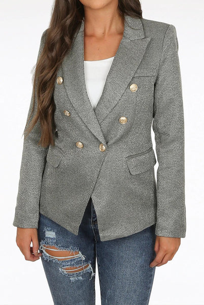 Camilla Dark Grey Hopsack Double Breasted Blazer