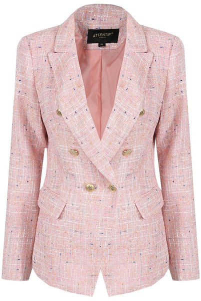New Season Emily Multi Knitted Blazer in Pink