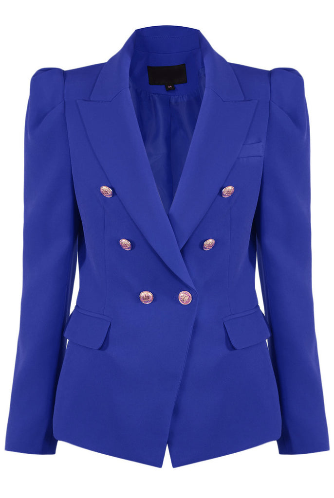 Amanda Puff Shoulders Double Breasted Blazer in Cobalt Blue