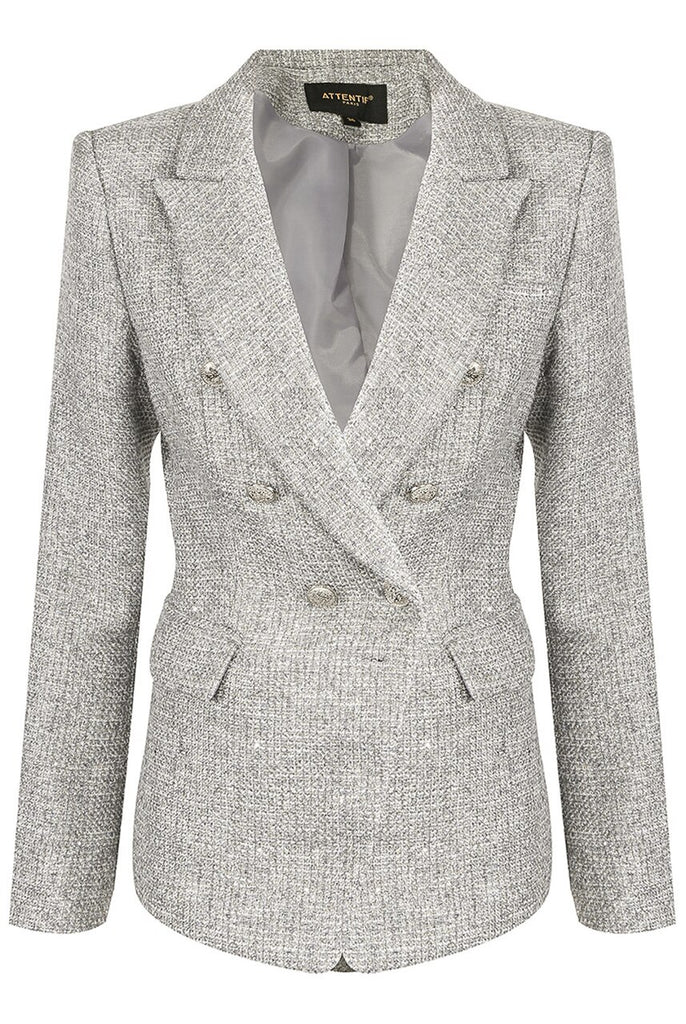 Cora Knit Thread Double Breasted Blazer in Grey