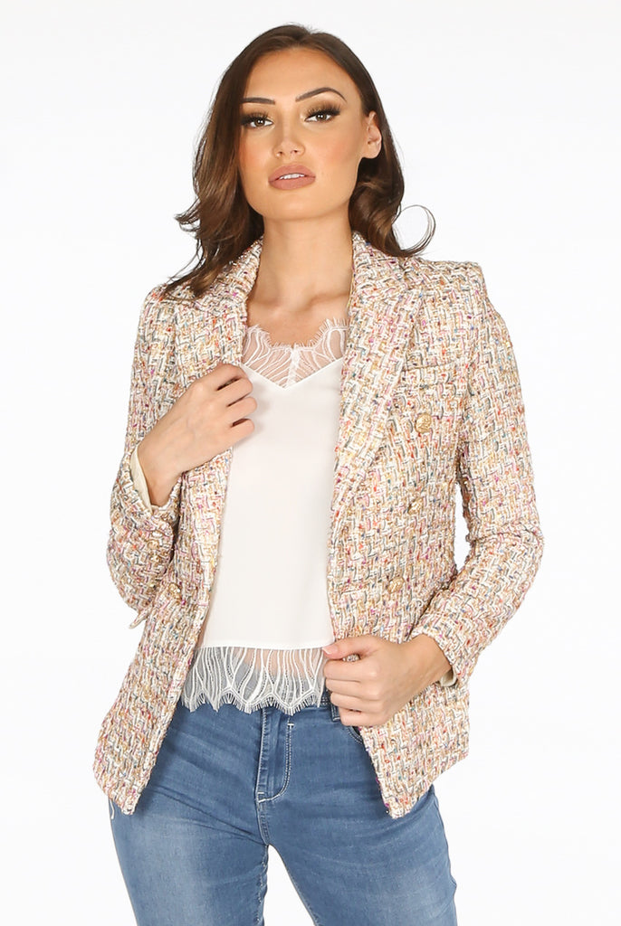 Carrie Boucle Tweed Double Breasted Blazer in Beige