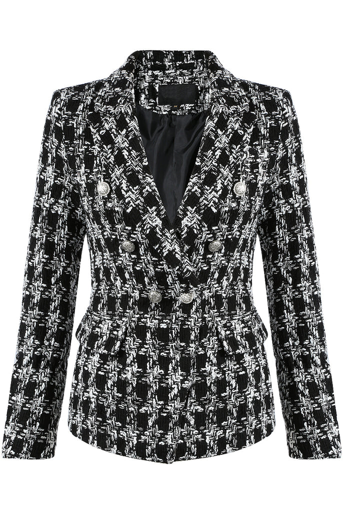 Fae Knitted Double Breasted Blazer in Black and White