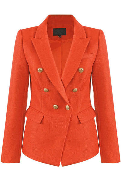 coral double breasted hopsack blazer