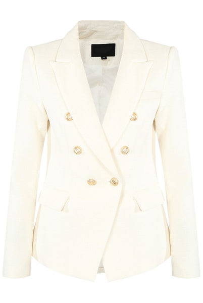 white double breasted hopsack blazer
