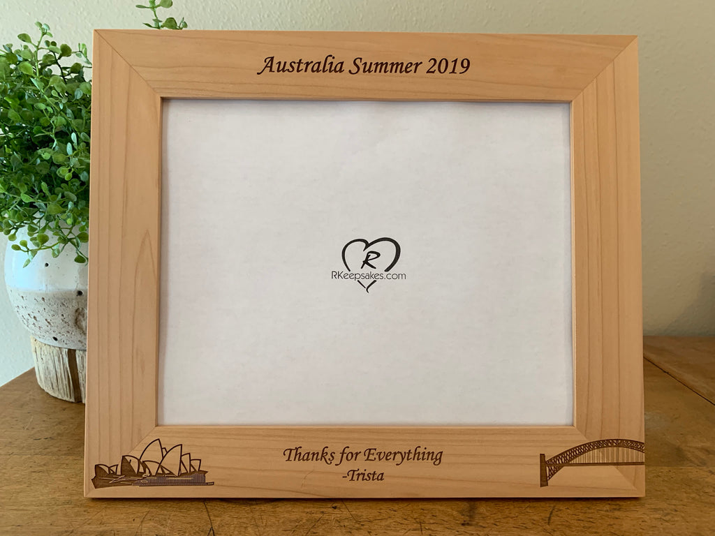 Personalized Australia Picture Frame with Sydney Harbor Bridge and Sydney Opera House and custom text engraved