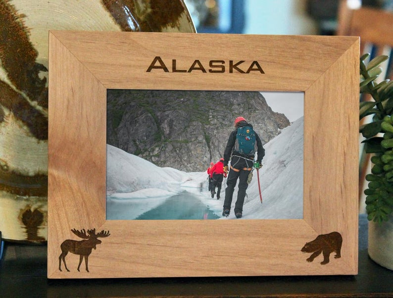 Moose and Bear Picture frame with custom text and images engraved, in alder