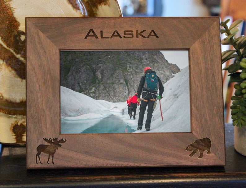 Moose and Bear Picture frame with custom text and images engraved, in walnut