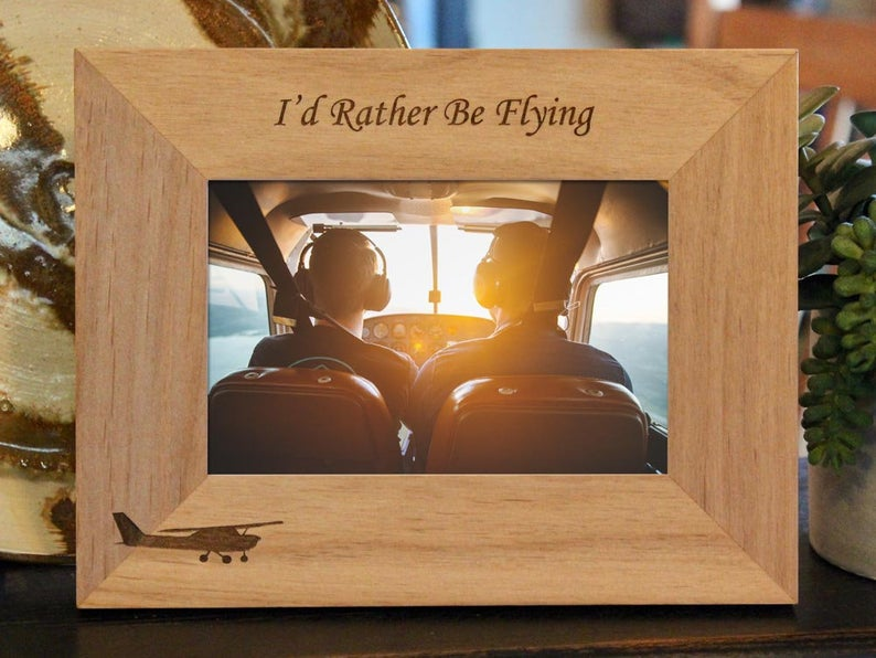 Personalized Aviator Picture Frame with Custom Text and Cessna image engraved