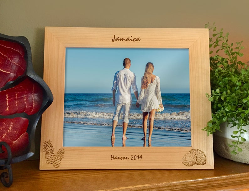 Tropical Vacation picture frame with custom text, pineapples and coconut images engraved