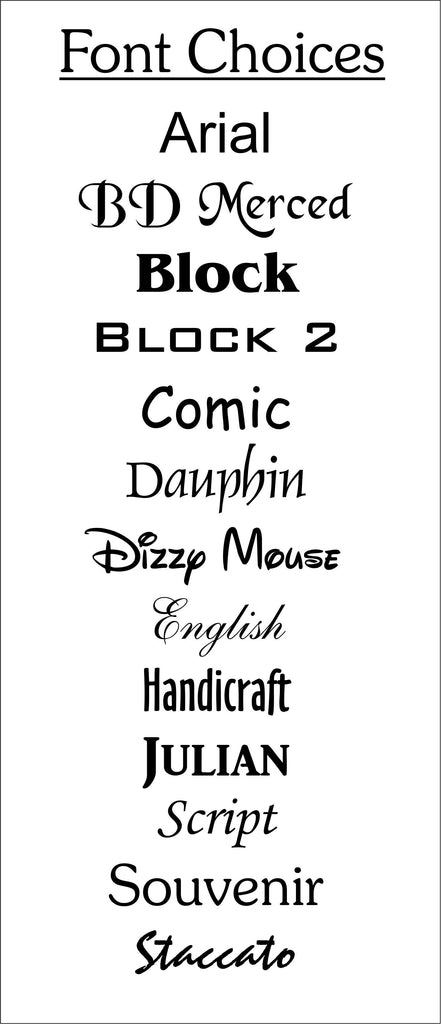 Custom buck picture frame font options