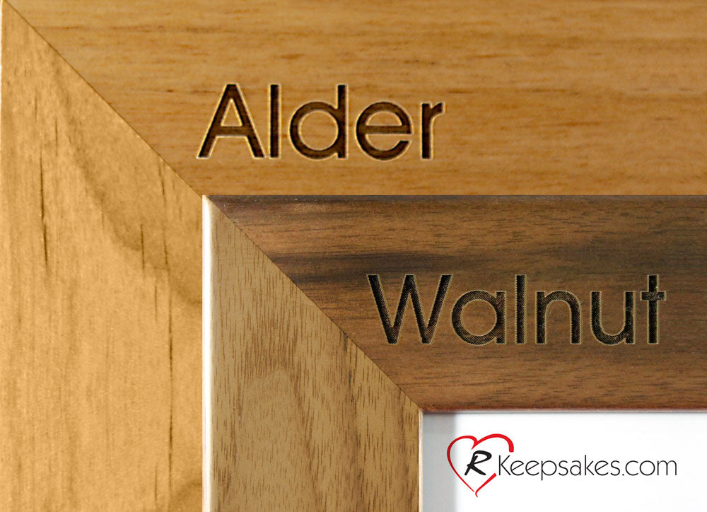 Personalized low wing picture frame wood options, alder and walnut