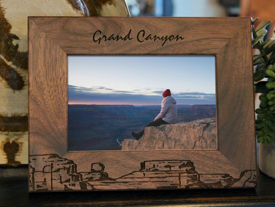 Grand Canyon picture frame with custom text engraved, in walnut wood