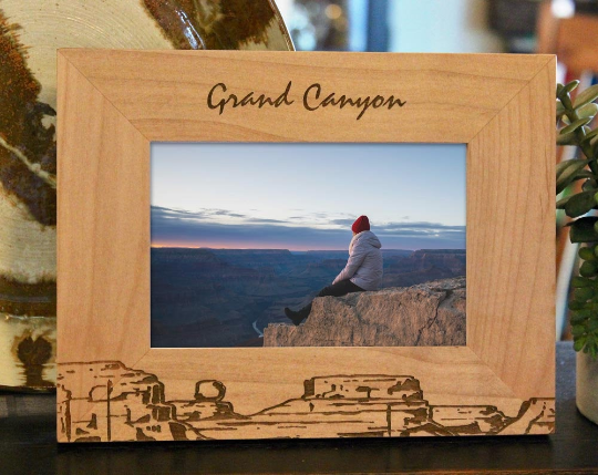 Grand Canyon picture frame with custom text engraved, in alder wood
