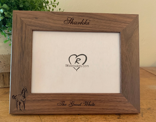 Personalized Horse Picture Frame with custom text and horse line drawing image engraved, walnut