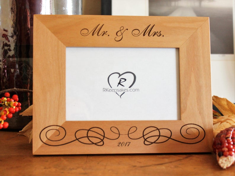 Personalized Wedding Picture Frame with Custom Text and flourish engraved