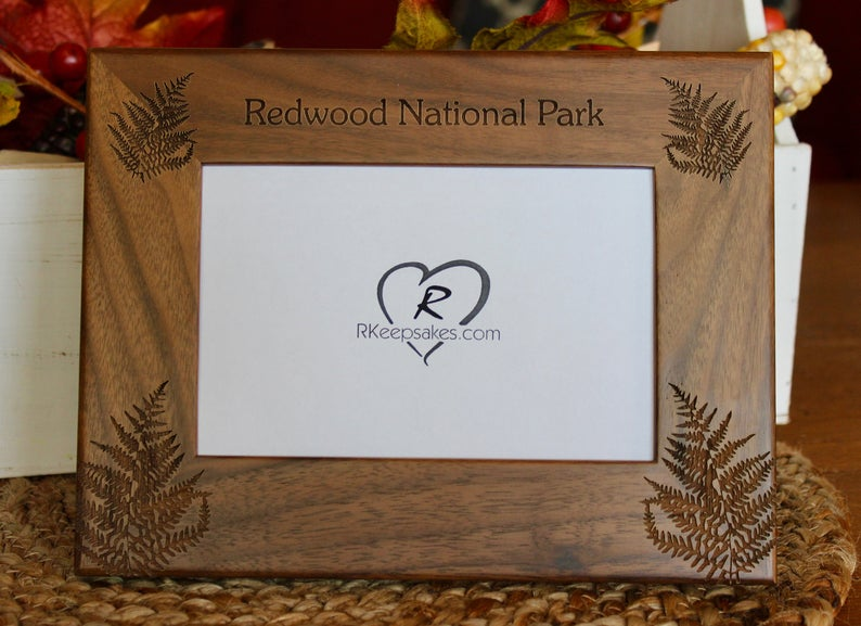 Redwood National Park Picture Frame with Custom Text and redwood leaves engraved