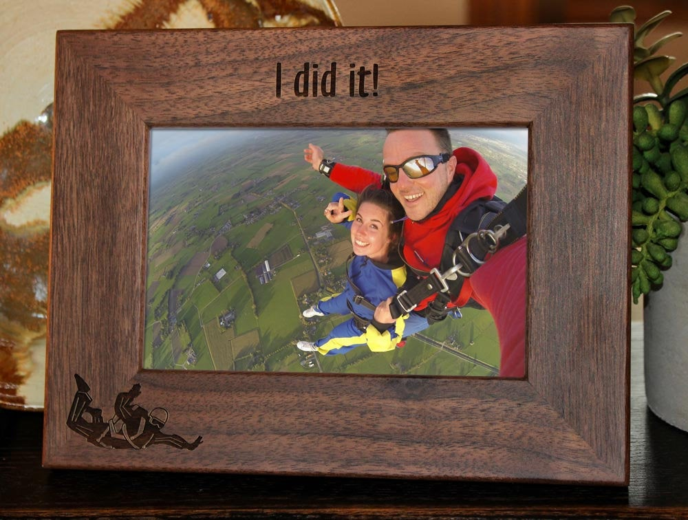 Personalized Skydiving Picture Frame with custom text and skydiver image engraved, in walnut