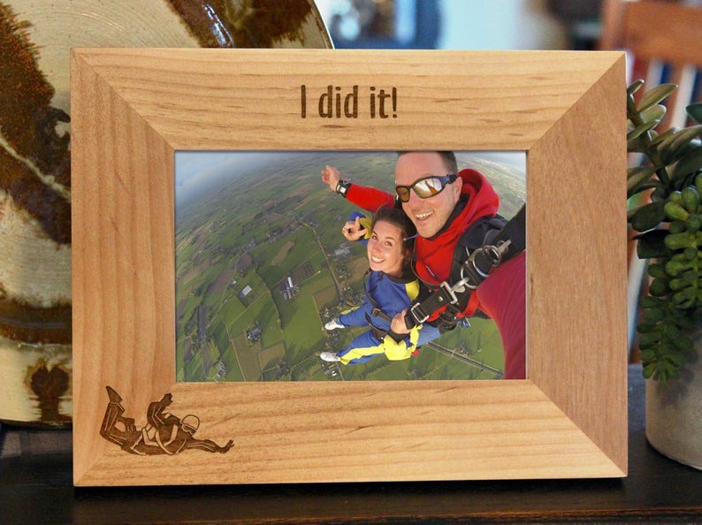 Personalized Skydiving Picture Frame with custom text and skydiver image engraved, in alder