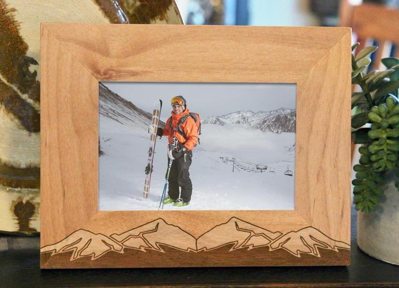 Mountains, Snow Capped Picture Frame, Custom Text