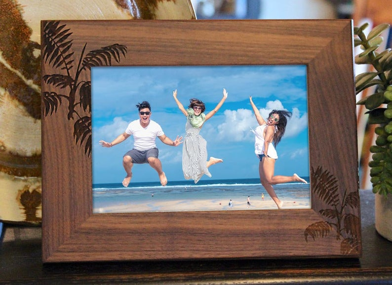 Personalized Vacation Picture Frame with palm tree leaves engraved in walnut wood